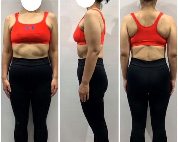 2ヶ月間のダイエット後の女性の写真