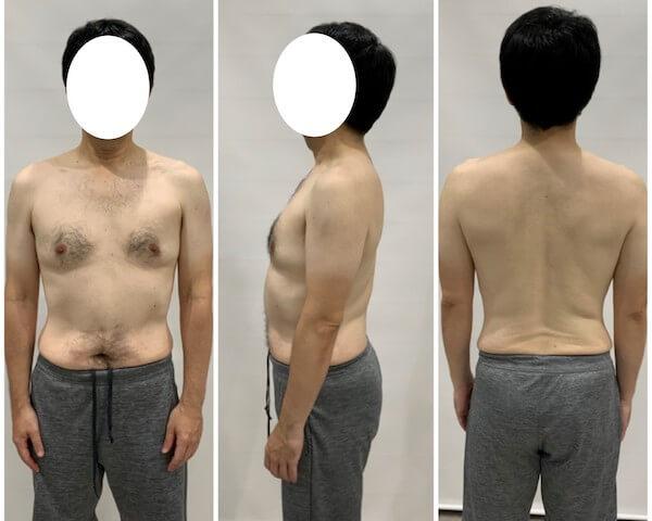 2ヶ月間のダイエット後の男性の写真